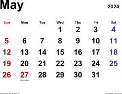 May 2024 calendar, landscape orientation, classic, available as printable templates for Word, Excel and PDF