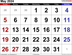 May 2024 calendar, landscape orientation, large numerals, available as printable templates for Word, Excel and PDF