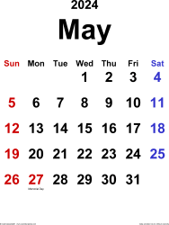 May 2024 calendar, portrait orientation, classic, available as printable templates for Word, Excel and PDF