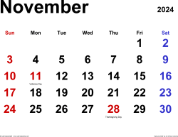 November 2024 calendar, landscape orientation, classic, available as printable templates for Word, Excel and PDF