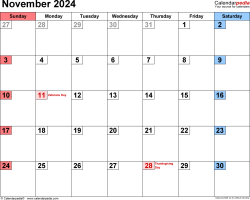 November 2024 calendar, landscape orientation, small numerals, available as printable templates for Word, Excel and PDF