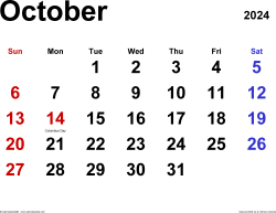 October 2024 calendar, landscape orientation, classic, available as printable templates for Word, Excel and PDF