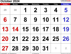 October 2024 calendar, landscape orientation, large numerals, available as printable templates for Word, Excel and PDF