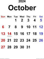 October 2024 calendar, portrait orientation, classic, available as printable templates for Word, Excel and PDF