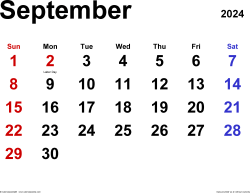 September 2024 calendar, landscape orientation, classic, available as printable templates for Word, Excel and PDF