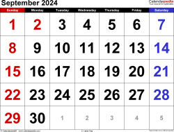 September 2024 calendar, landscape orientation, large numerals, available as printable templates for Word, Excel and PDF