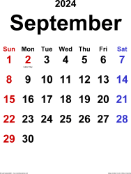 September 2024 calendar, portrait orientation, classic, available as printable templates for Word, Excel and PDF