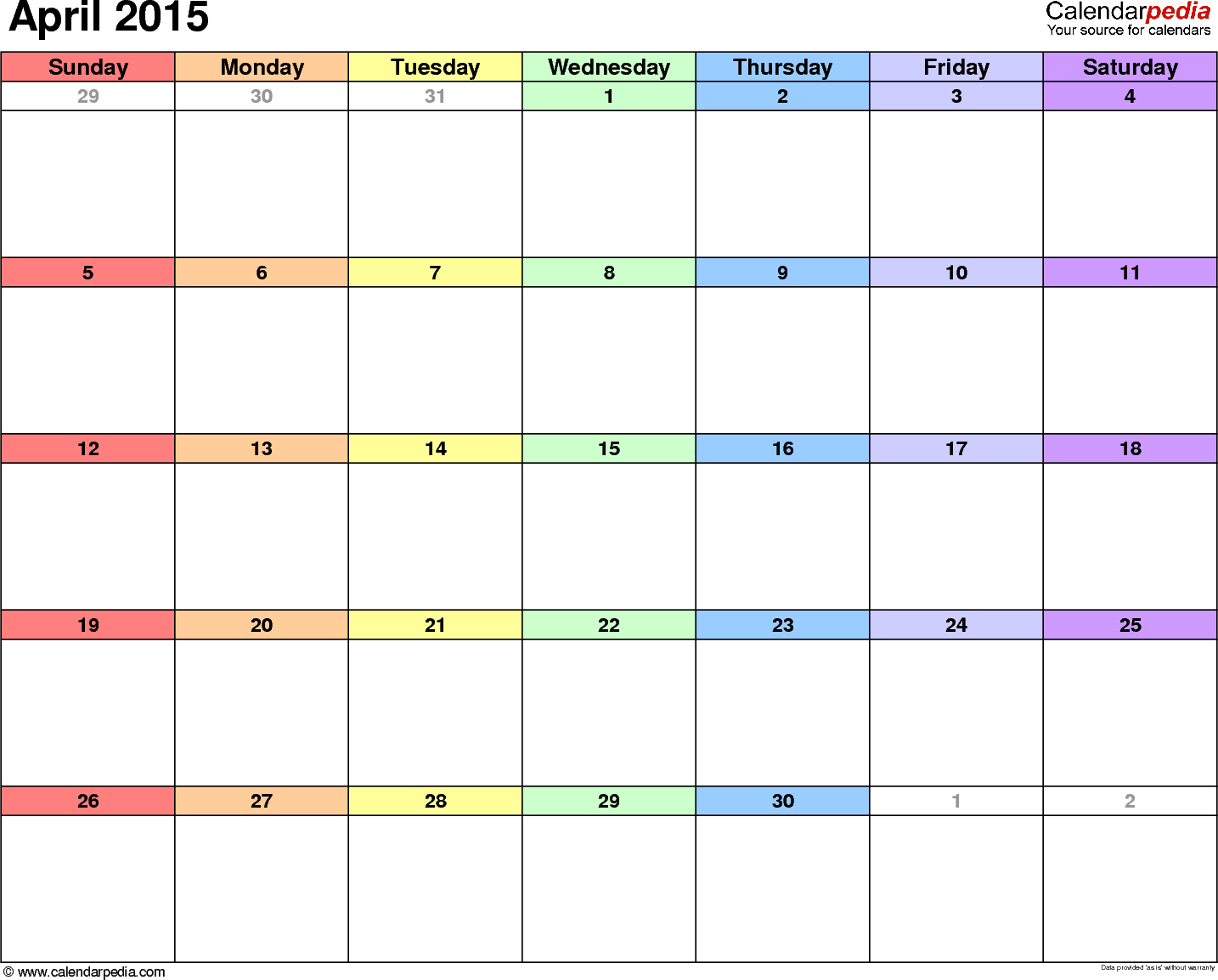 April 2015 calendar, landscape orientation, 'rainbow calendar', available as printable templates for Word, Excel and PDF