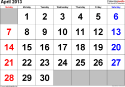 April 2013 calendar, landscape orientation, large numerals, available as printable templates for Word, Excel and PDF