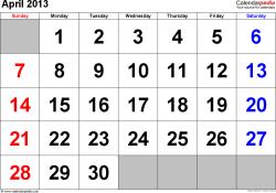 April 2013 calendar