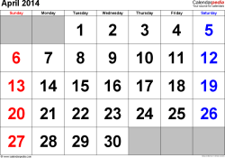 April 2014 calendar, landscape orientation, large numerals, available as printable templates for Word, Excel and PDF