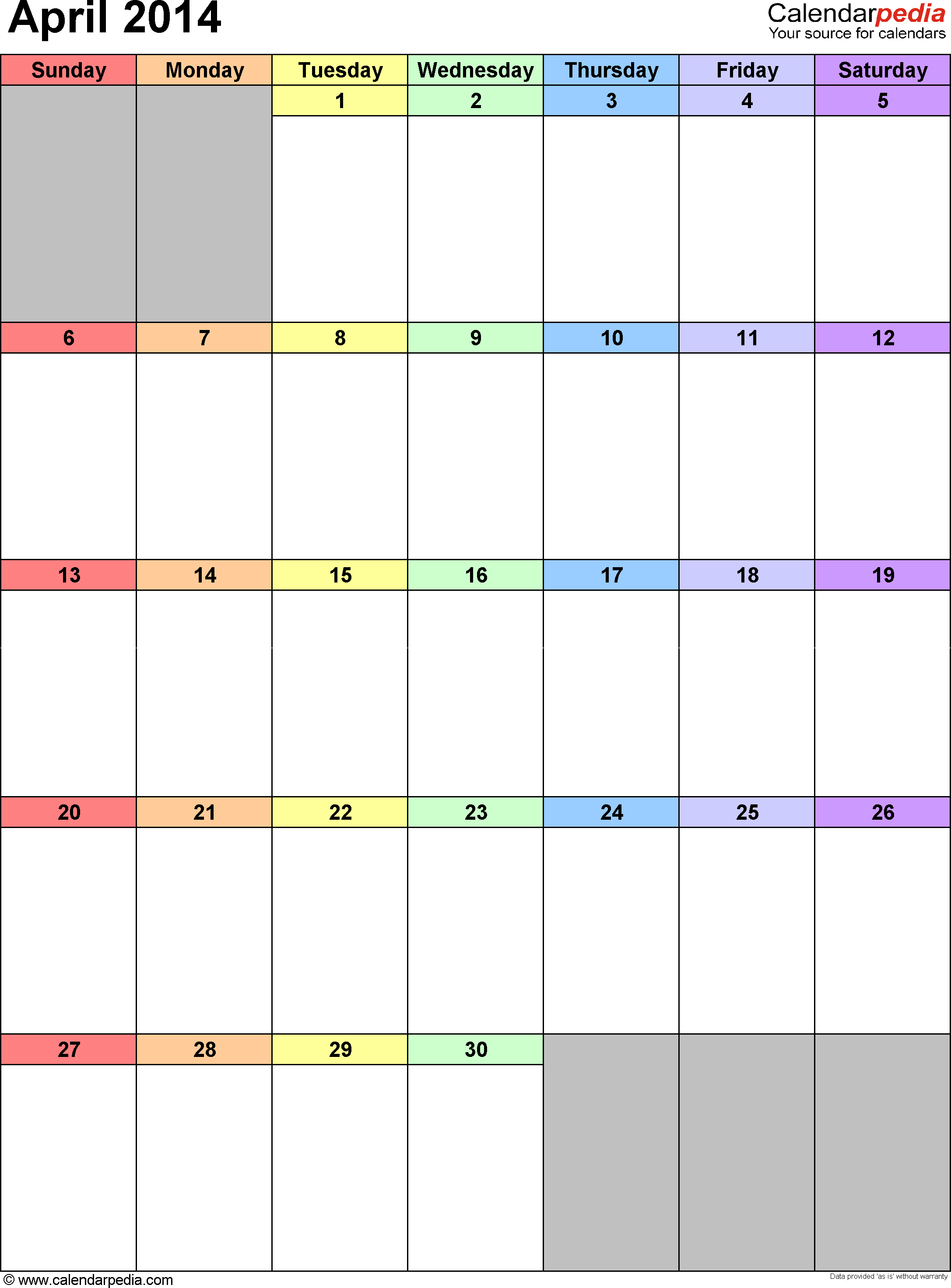 April 2014 calendar as printable Word, Excel & PDF templates