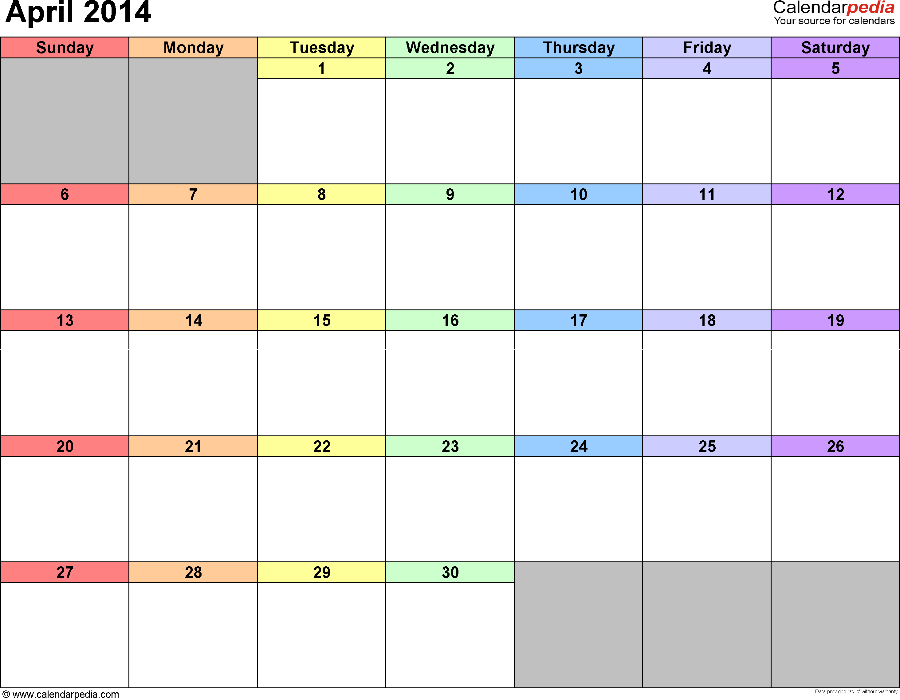 April 2014 calendar, landscape orientation, 'rainbow calendar', available as printable templates for Word, Excel and PDF