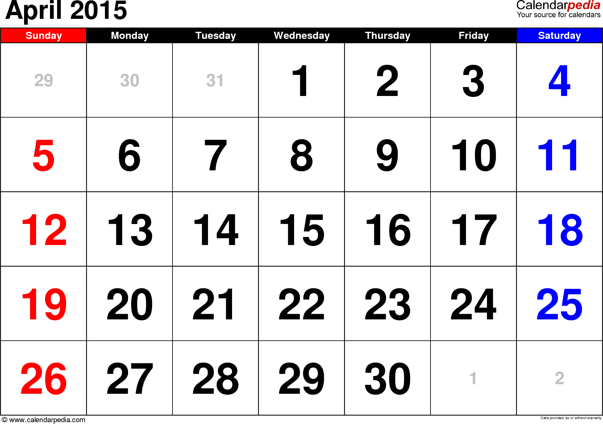 April 2015 calendar, landscape orientation, large numerals, available as printable templates for Word, Excel and PDF