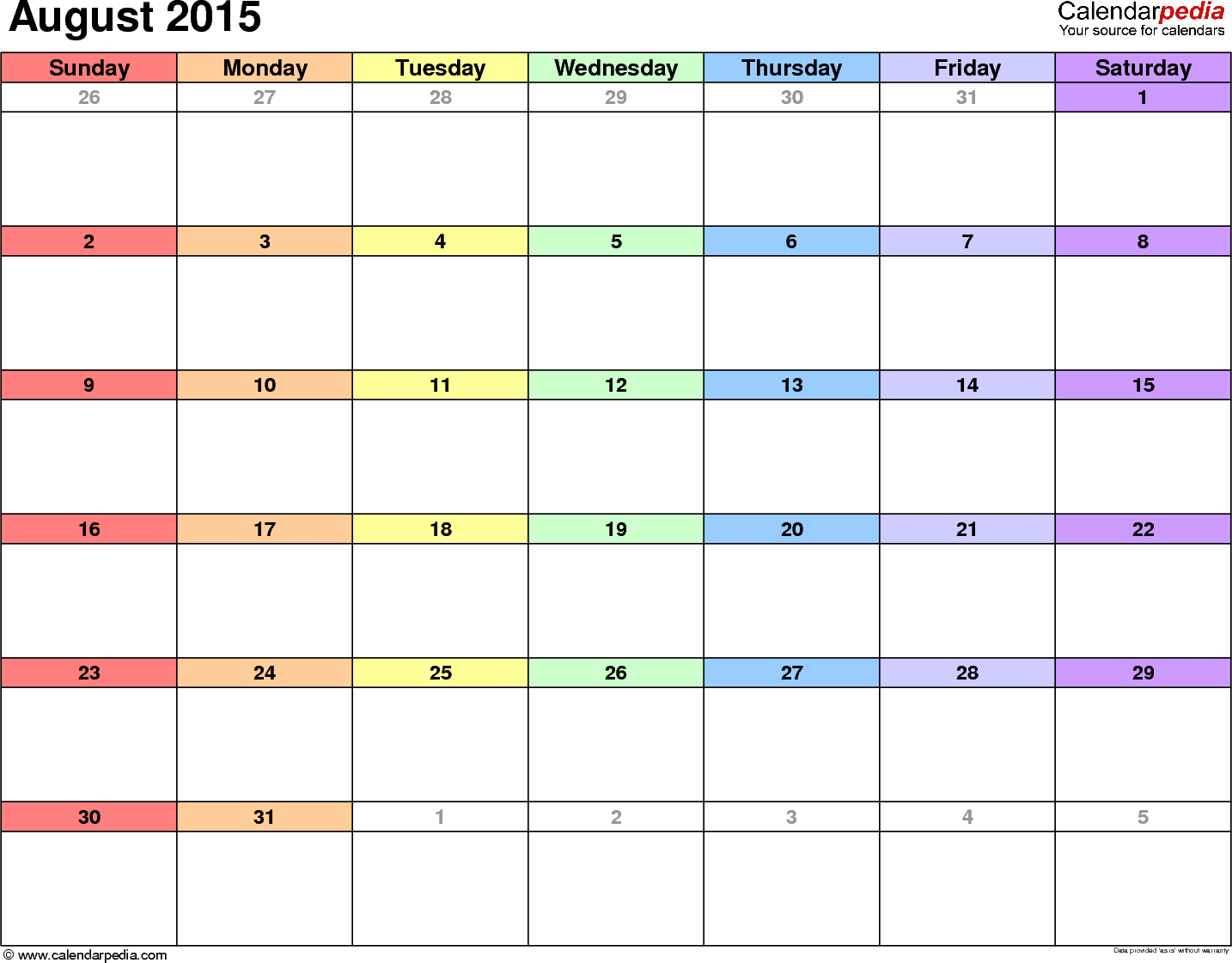 August 2015 calendar, landscape orientation, 'rainbow calendar', available as printable templates for Word, Excel and PDF