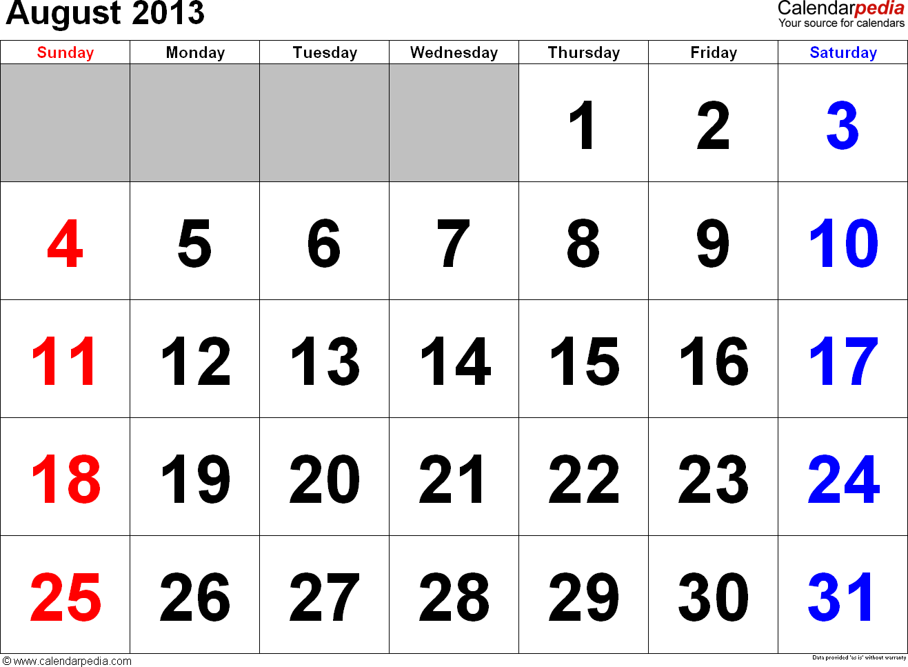 August 2013 calendar, landscape orientation, large numerals, available as printable templates for Word, Excel and PDF