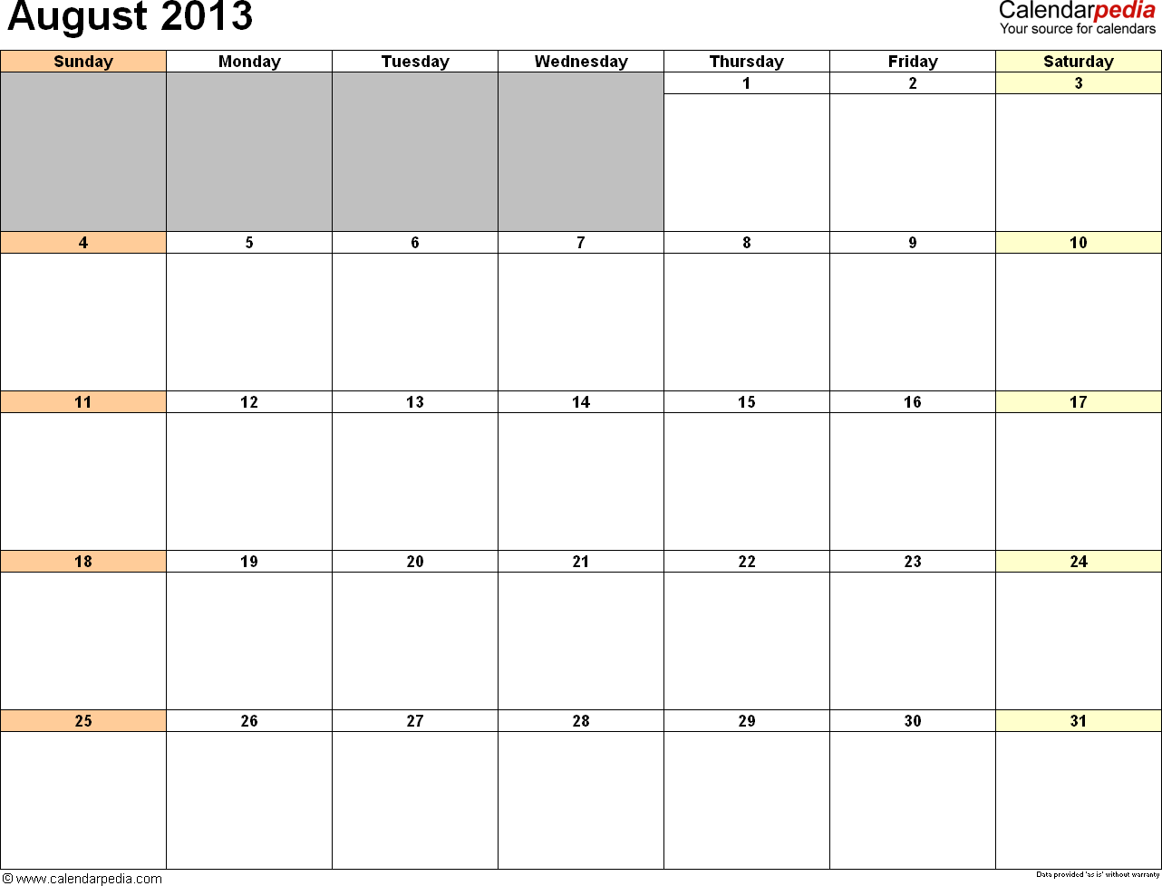 office 2013 calendar template