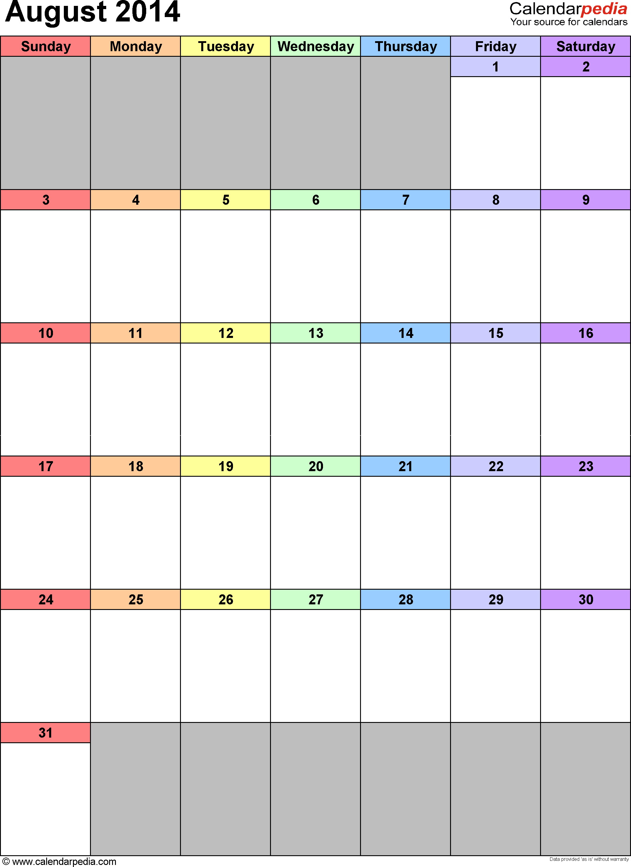 August 2014 calendar as printable Word, Excel & PDF templates