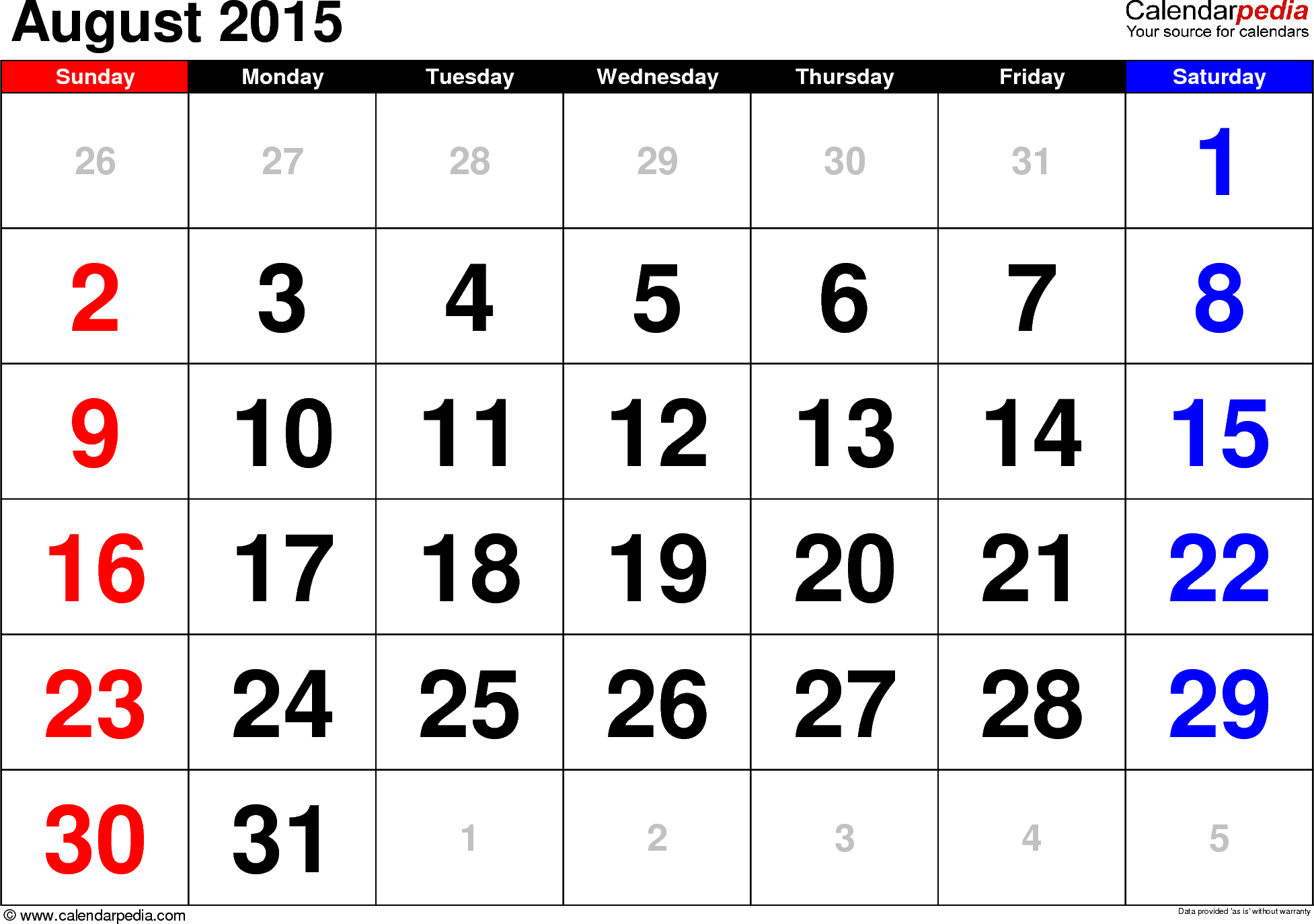 August 2015 calendar, landscape orientation, large numerals, available as printable templates for Word, Excel and PDF