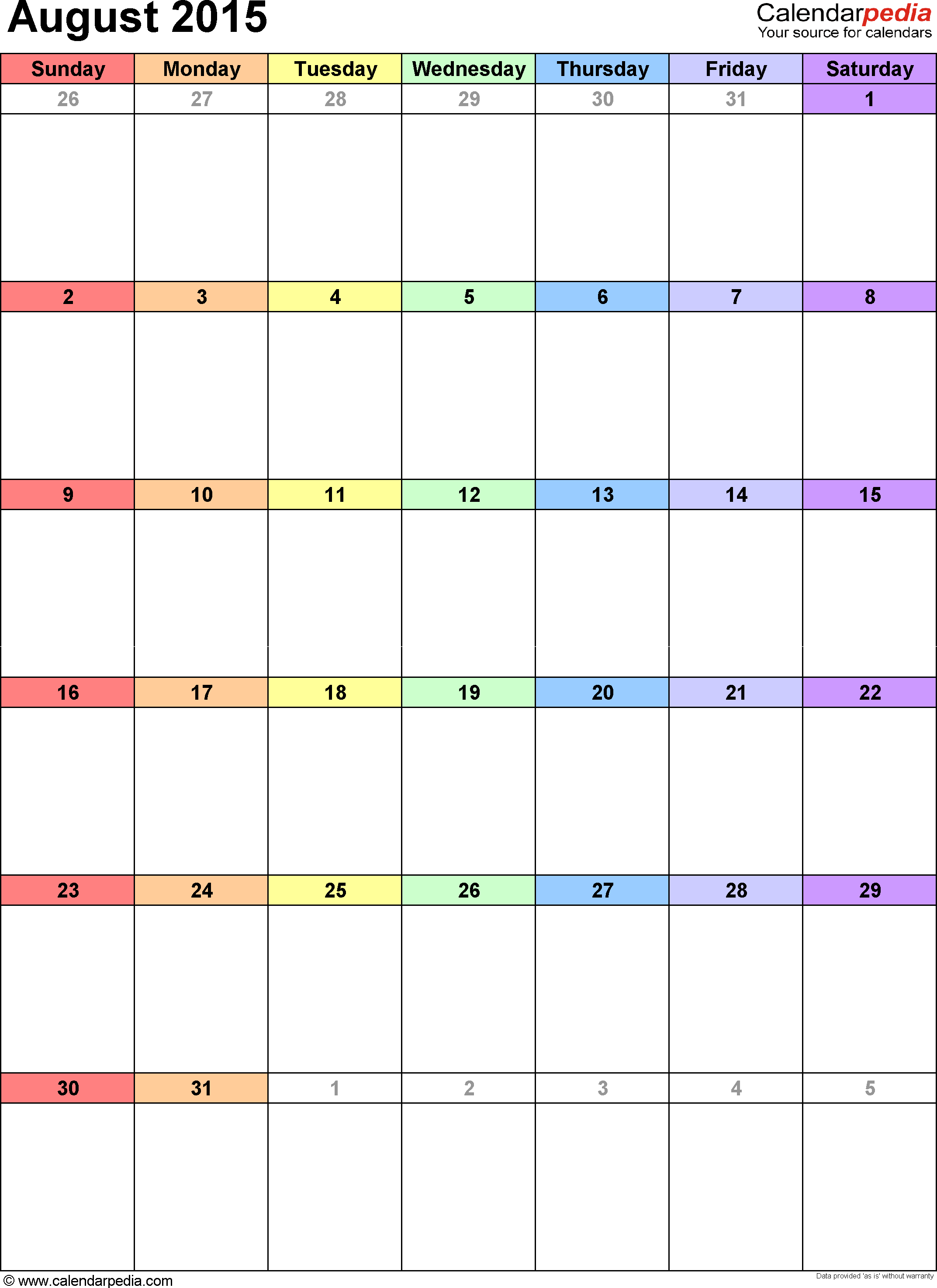 August 2015 calendar, portrait orientation, 'rainbow calendar', available as printable templates for Word, Excel and PDF