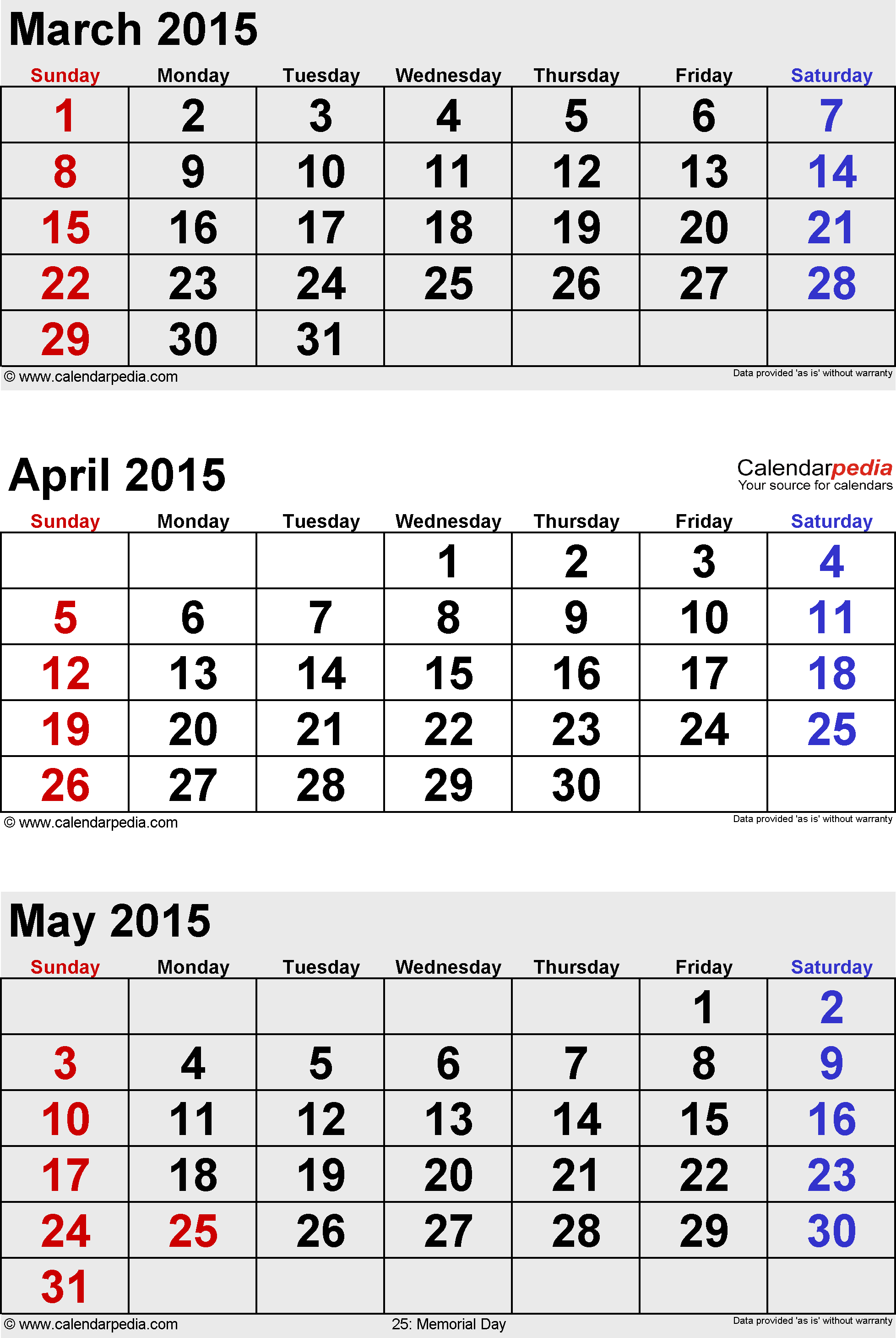 3 months calendar April/May/June 2015 in portrait format