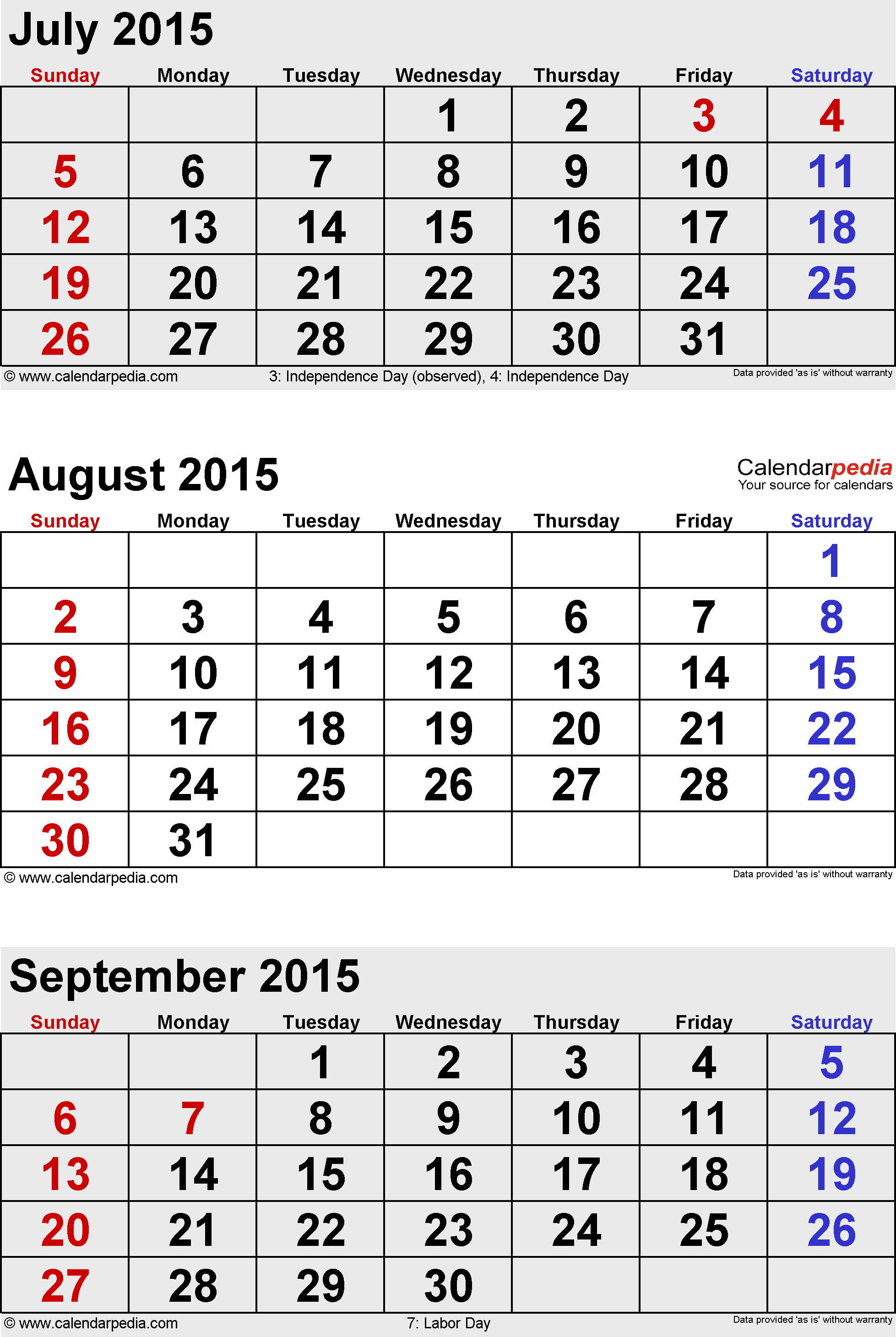 3 months calendar August/September/October 2015 in portrait format