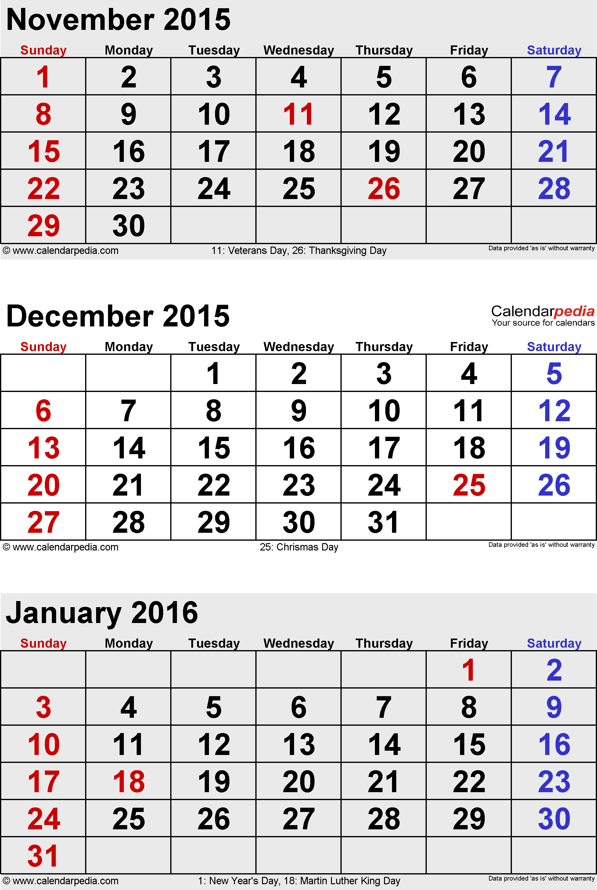 3 months calendar December 2014 / January/February 2015 in portrait format