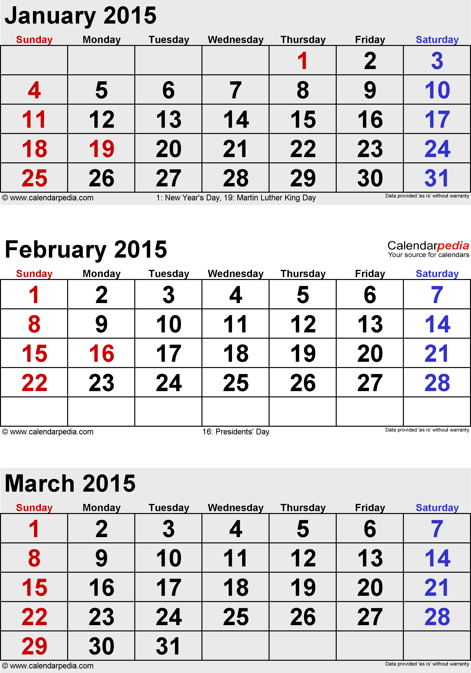 3 months calendar February/March/April 2015 in portrait format