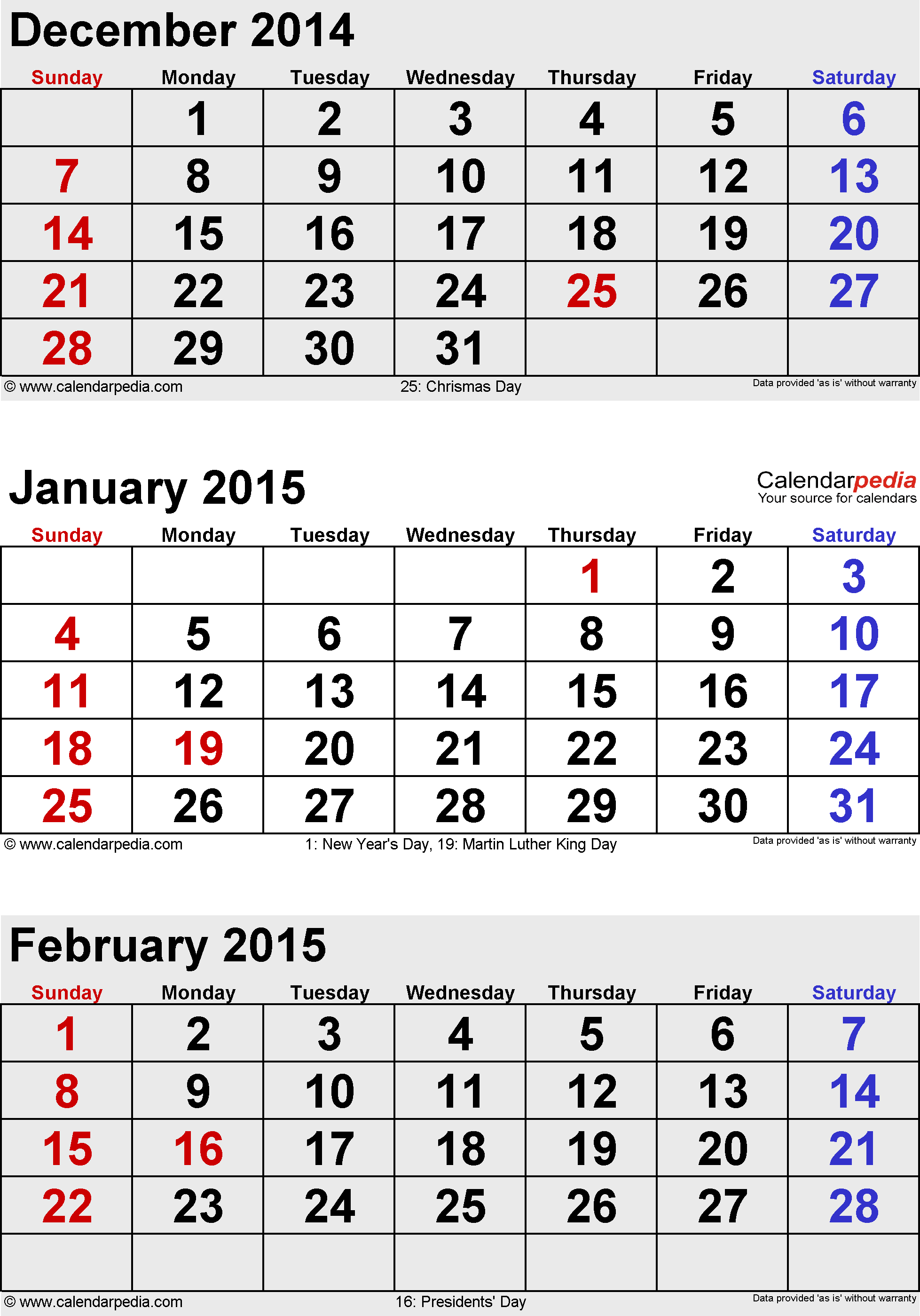 three month calendar January/February/March 2015 in portrait orientation