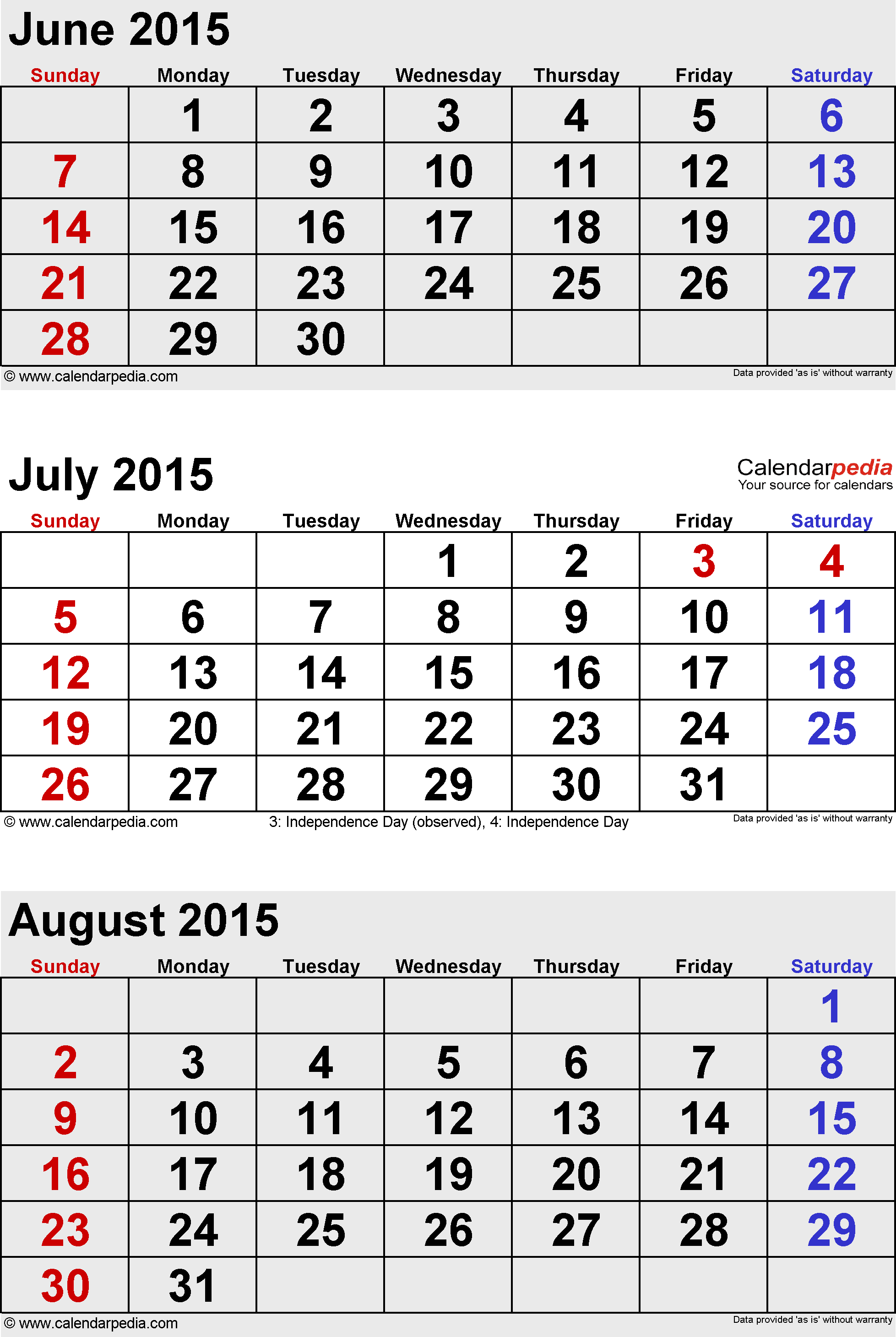 three month calendar July/August/September 2015 in portrait orientation