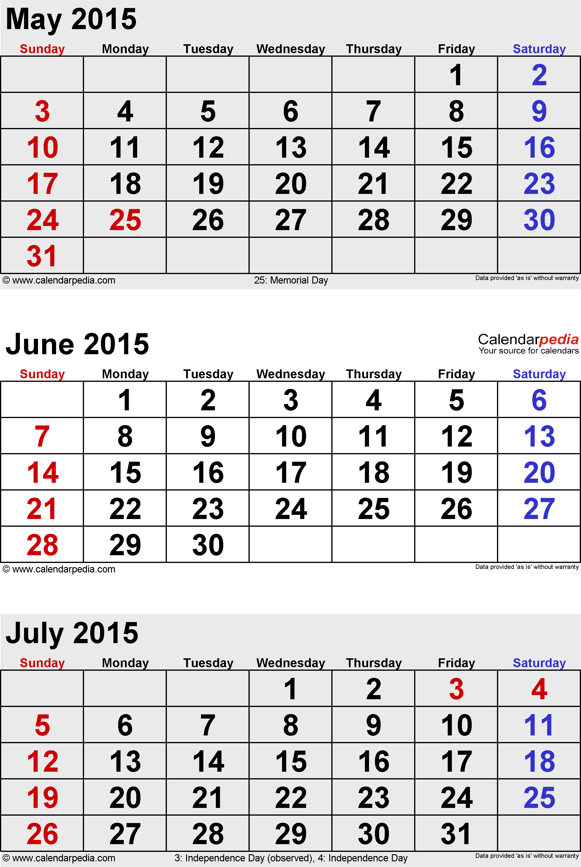 three month calendar June/July/August 2015 in portrait orientation