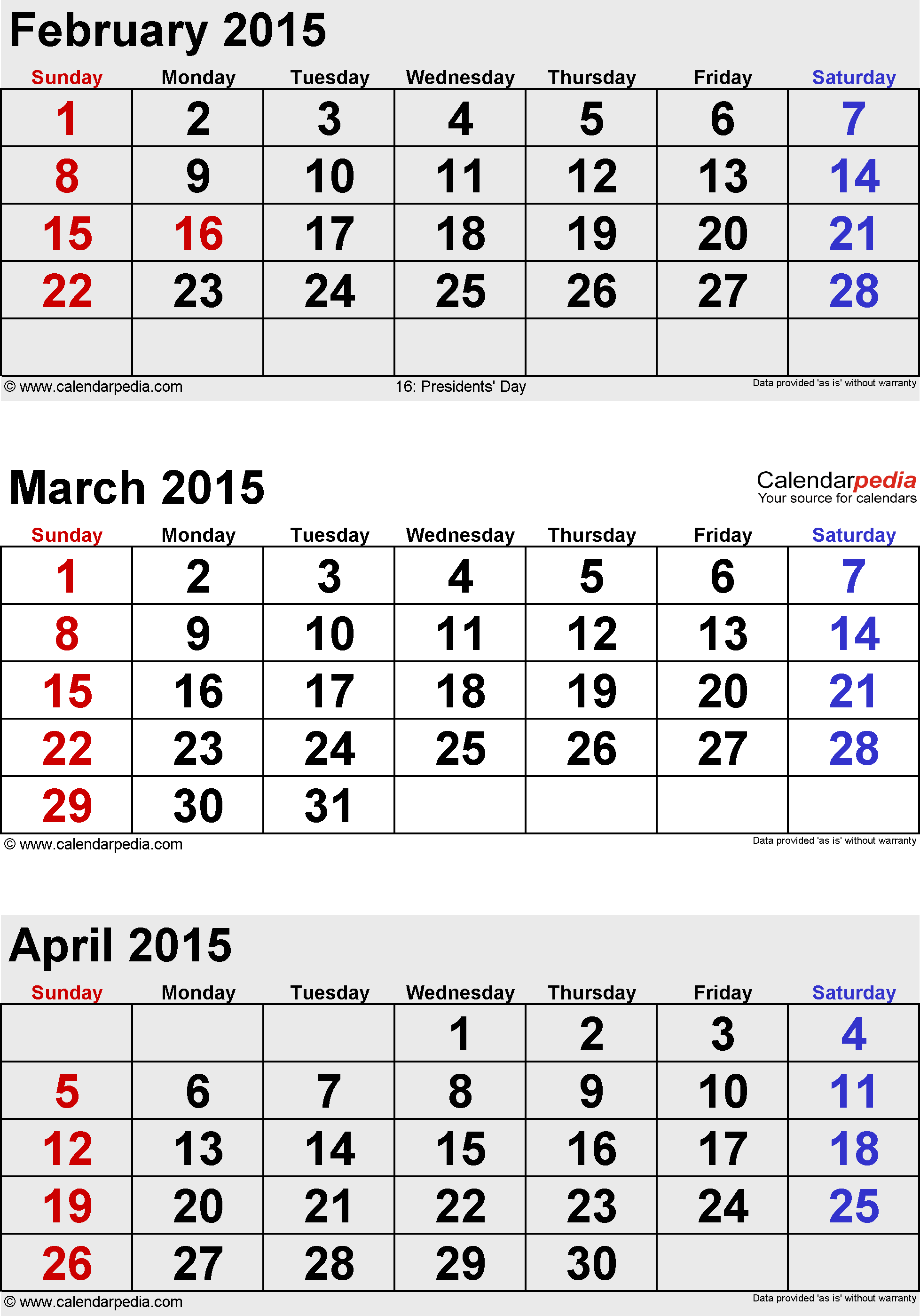 3 months calendar March/April/May 2015 in portrait format