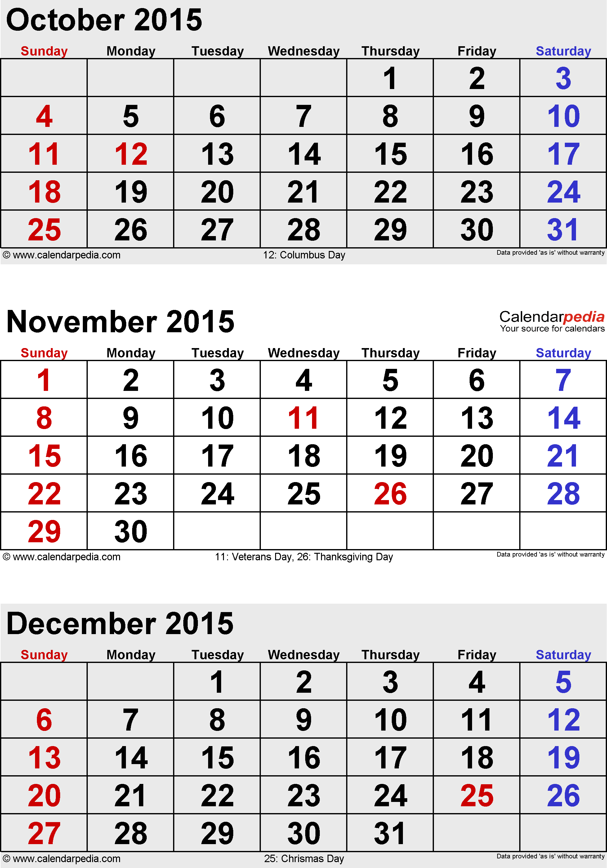 3 months calendar November/December 2015 & January 2016 in portrait format