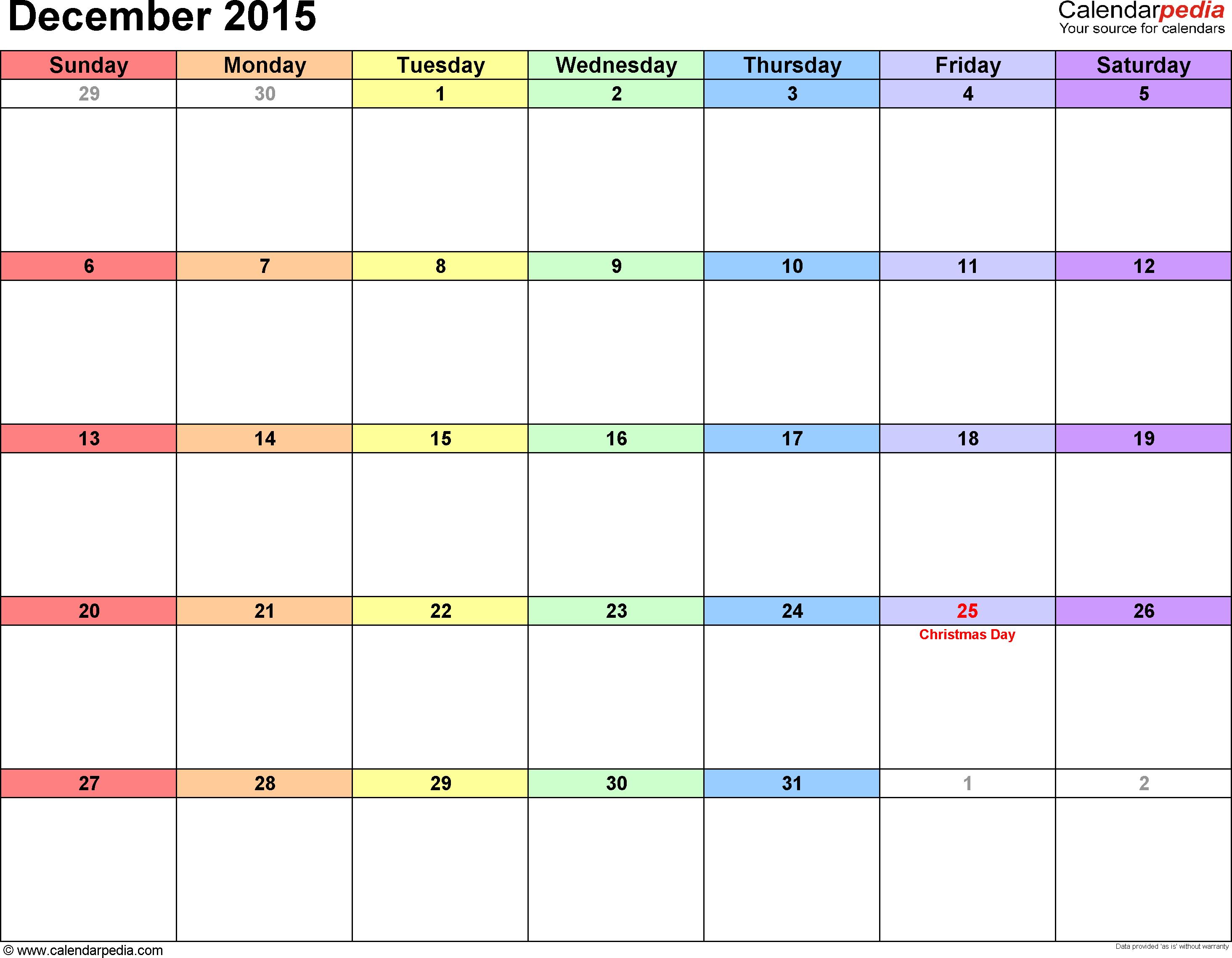 December 2015 calendar printable template