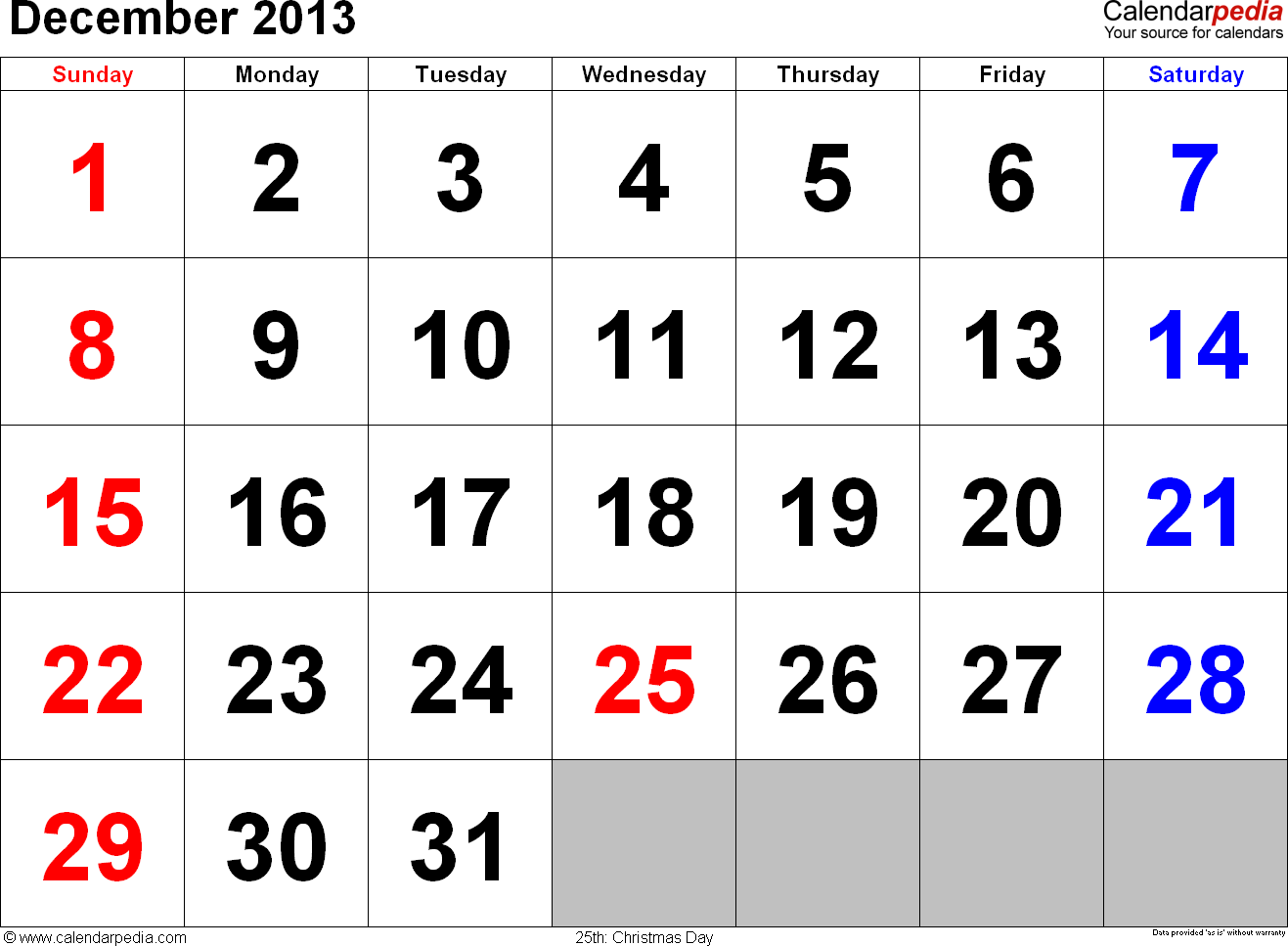 December 2013 calendar, landscape orientation, large numerals, available as printable templates for Word, Excel and PDF