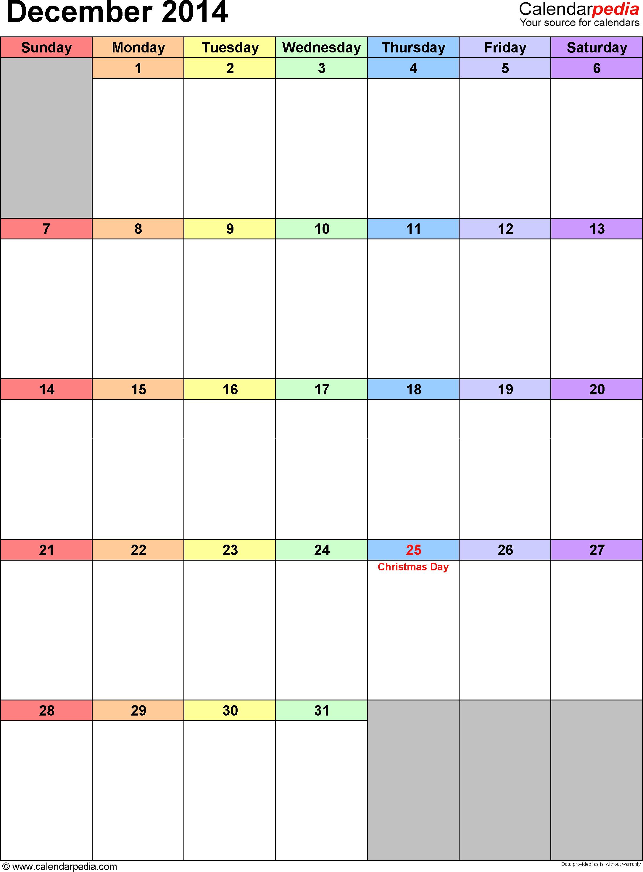 December 2014 calendar as printable Word, Excel & PDF templates