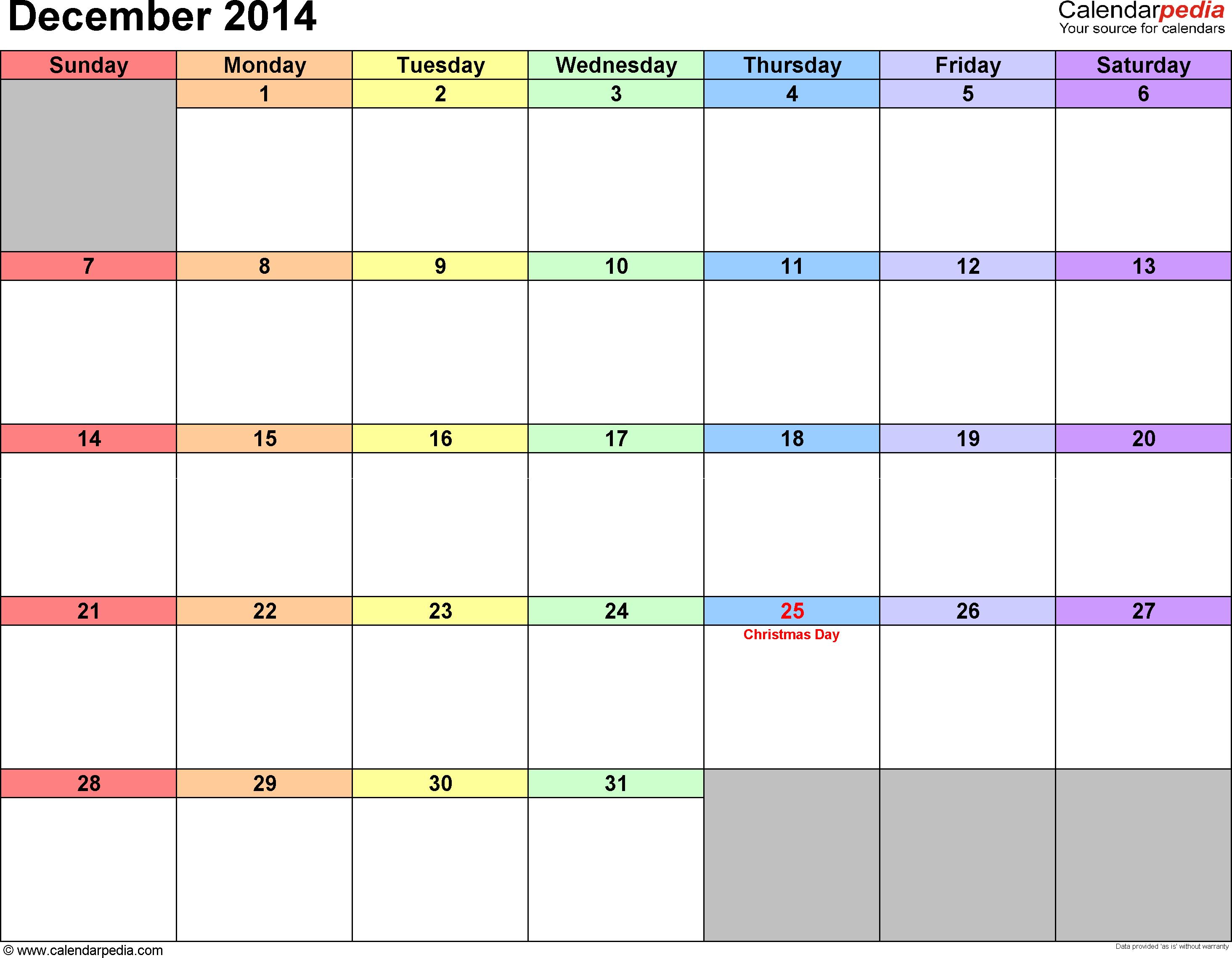 December 2014 calendar printable template