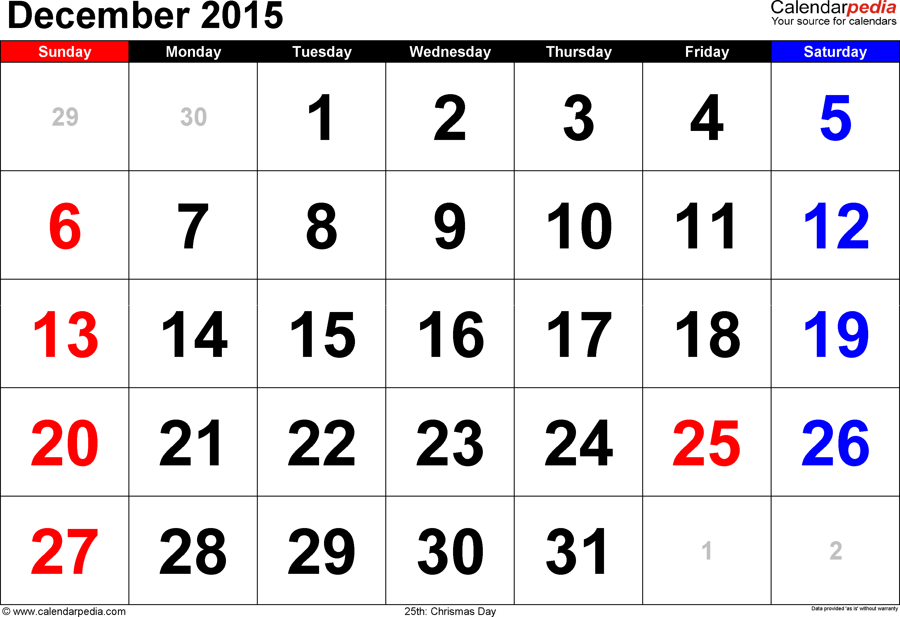 December 2015 calendar, landscape orientation, large numerals, available as printable templates for Word, Excel and PDF