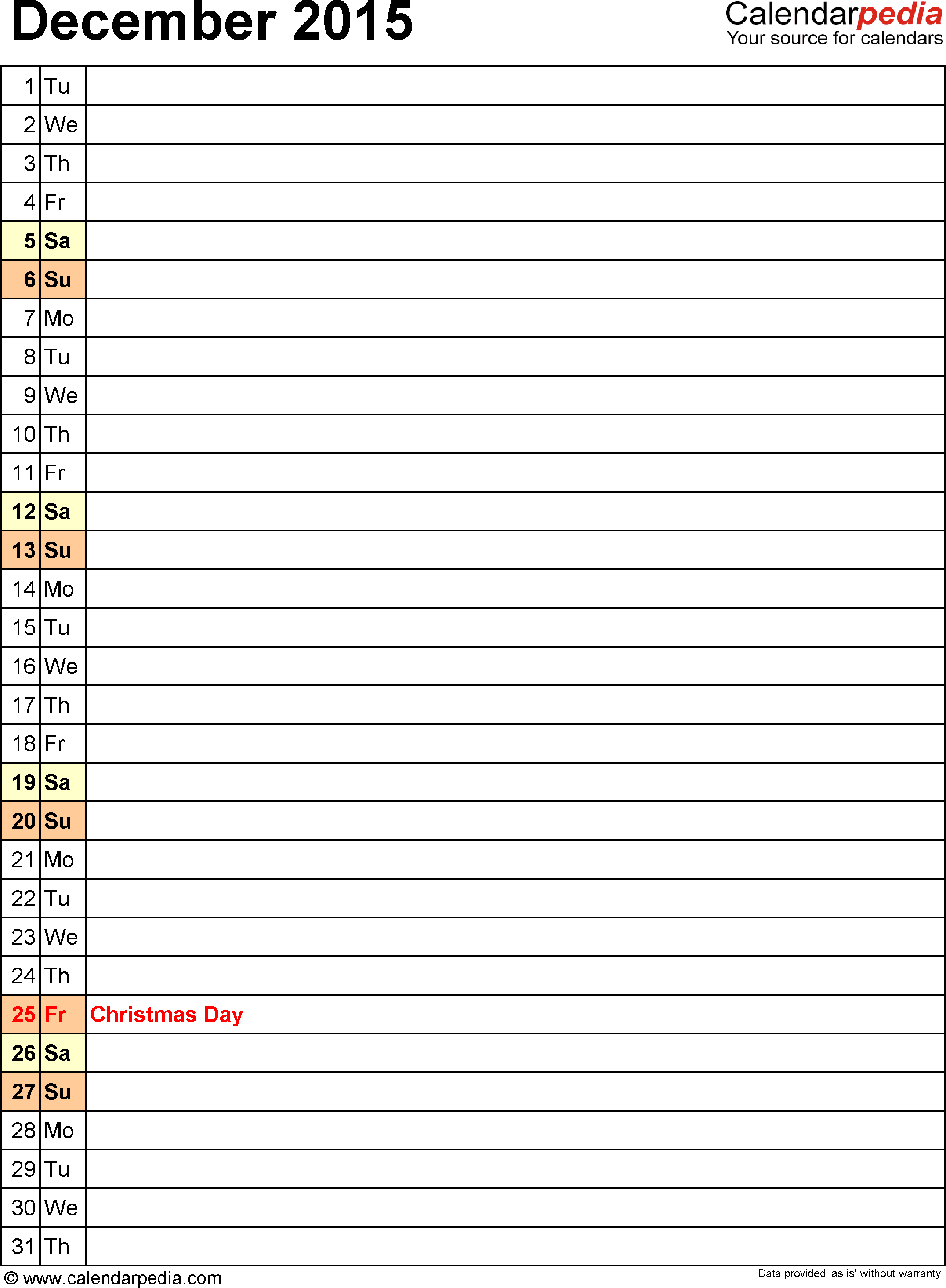 December 2015 calendar, portrait orientation, list view (days aligned vertically), available as printable templates for Word, Excel and PDF