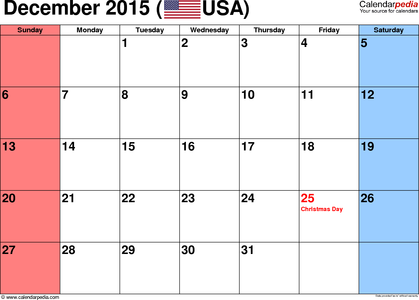 December 2015 calendar, landscape orientation, small numerals, available as printable templates for Word, Excel and PDF