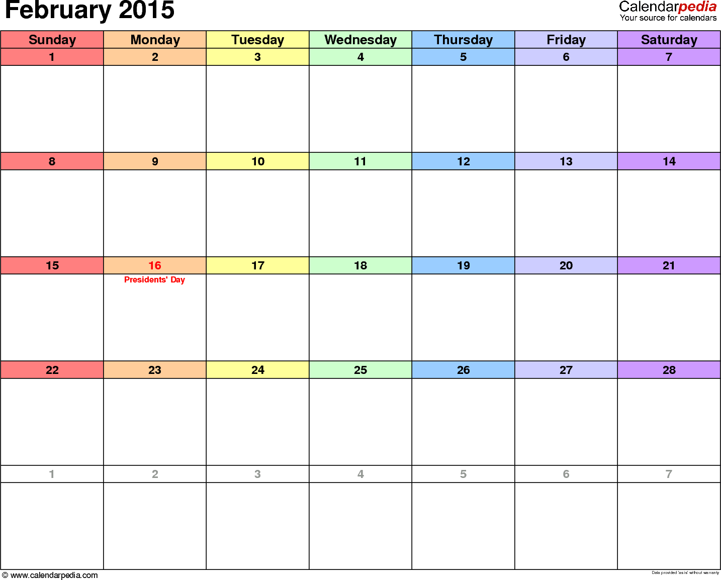 February 2015 calendar, landscape orientation, 'rainbow calendar', available as printable templates for Word, Excel and PDF