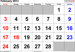 February 2013 calendar, landscape orientation, large numerals, available as printable templates for Word, Excel and PDF