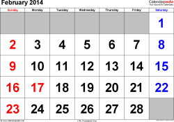 February 2014 calendar, landscape orientation, large numerals, available as printable templates for Word, Excel and PDF