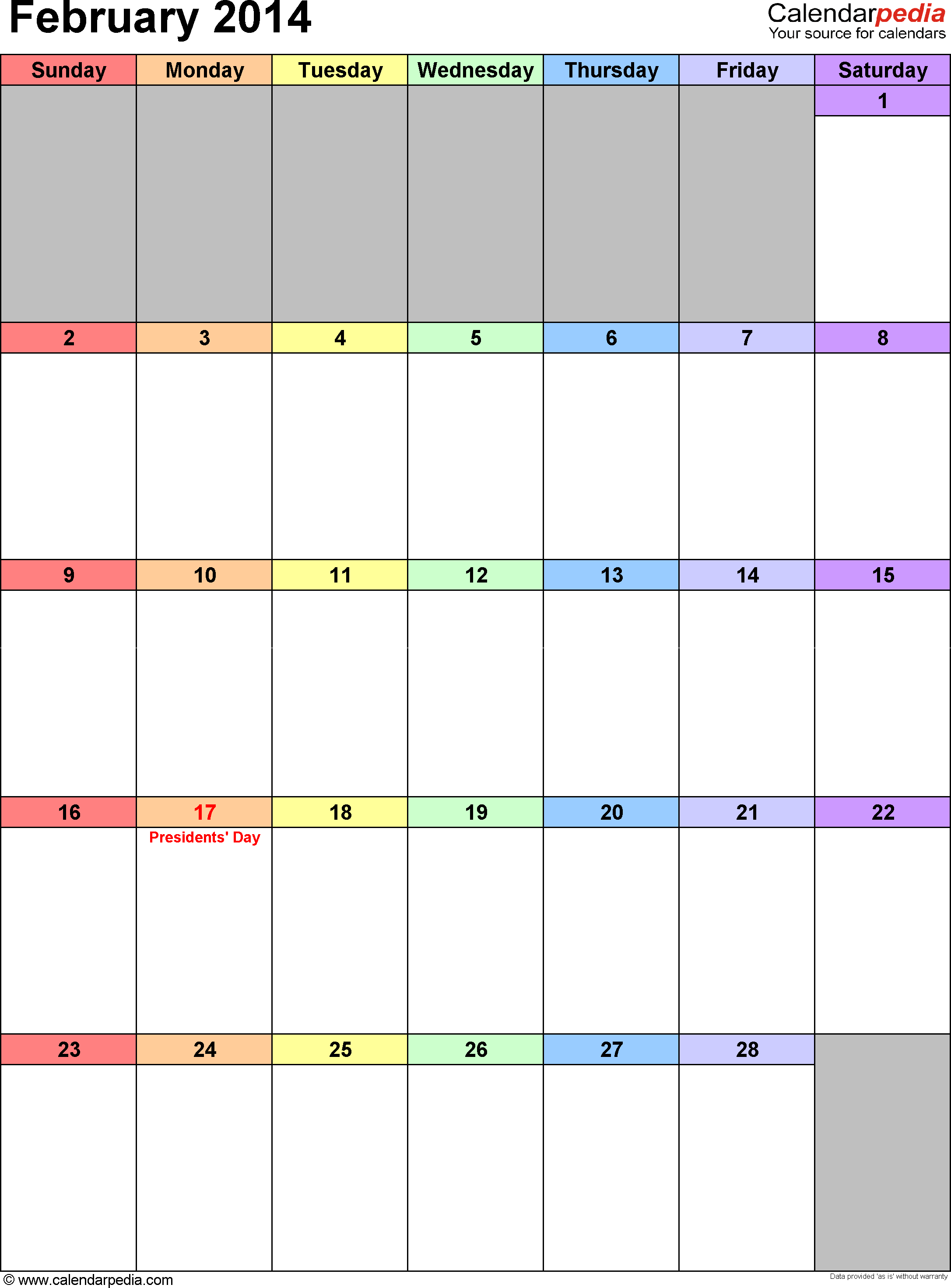 February 2014 calendar as printable Word, Excel & PDF templates