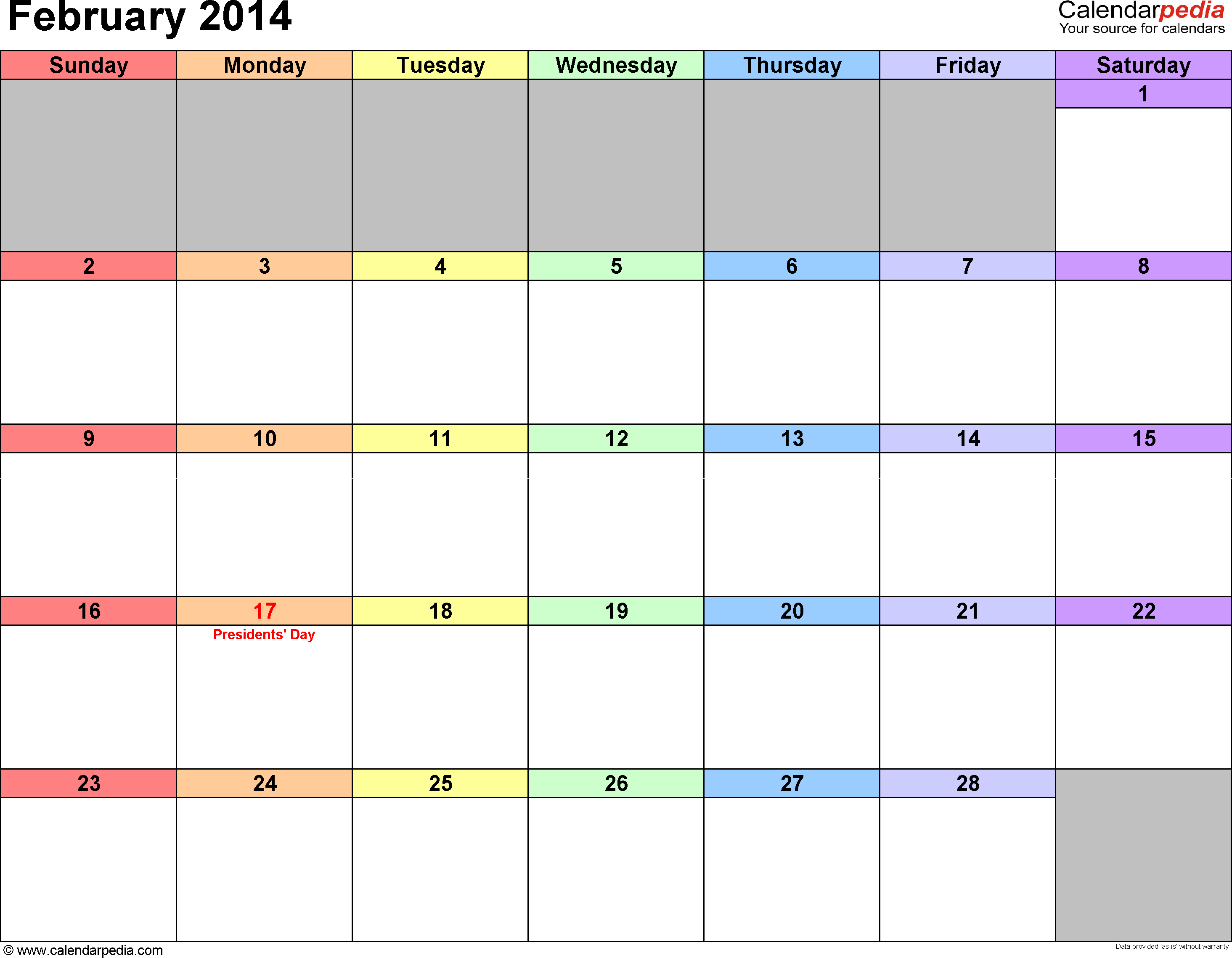 February 2014 Calendars for Word, Excel & PDF