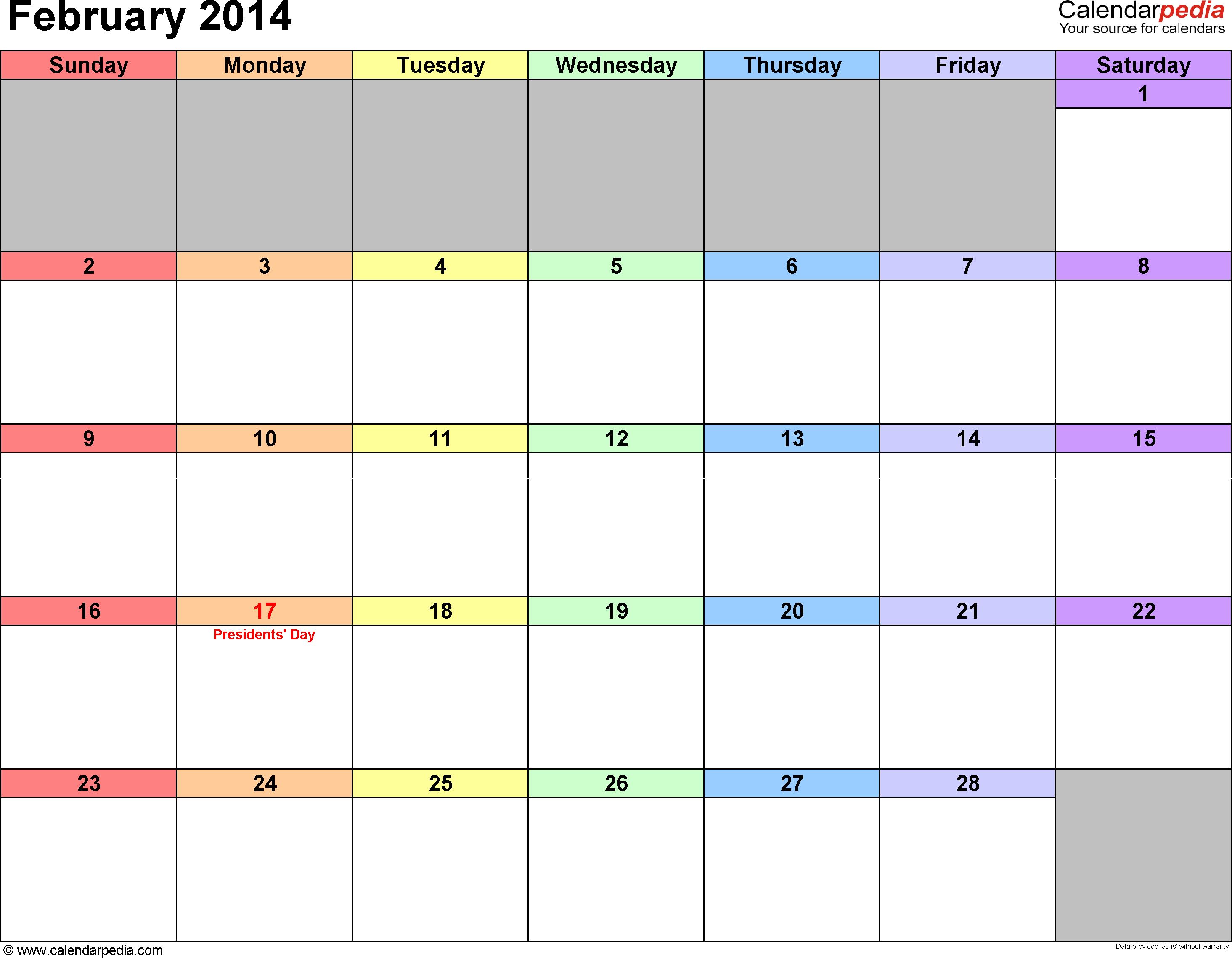 February 2014 calendar printable template