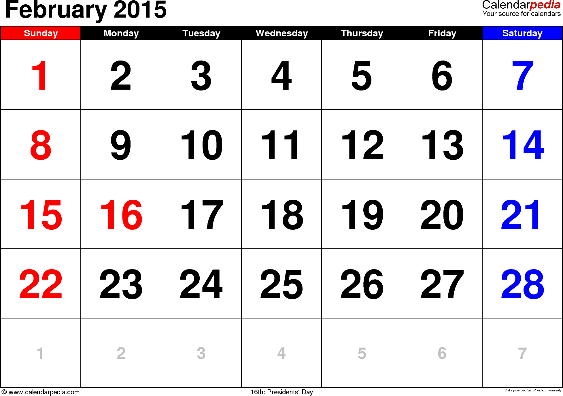 February 2015 calendar, landscape orientation, large numerals, available as printable templates for Word, Excel and PDF