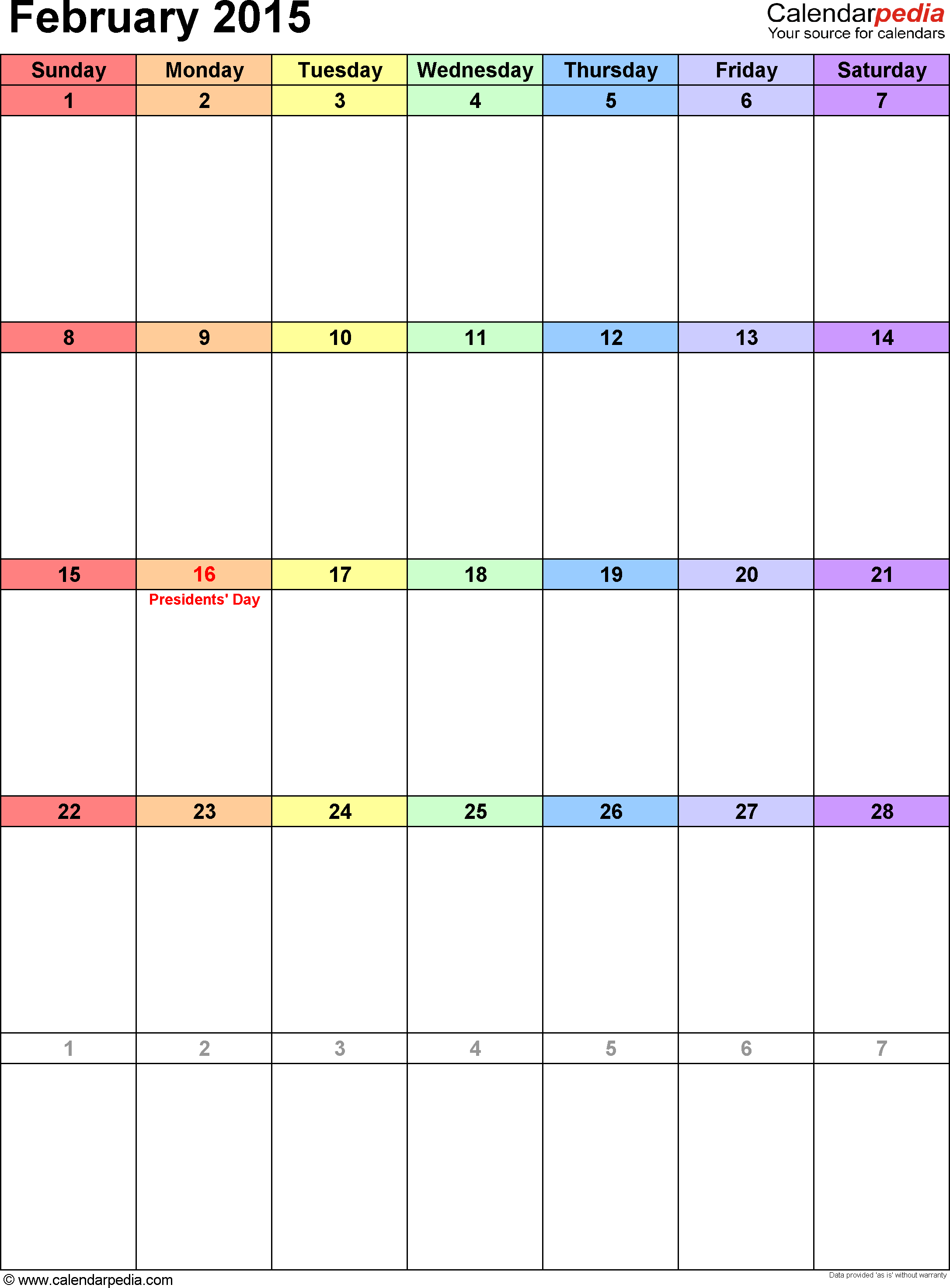 February 2015 calendar, portrait orientation, 'rainbow calendar', available as printable templates for Word, Excel and PDF