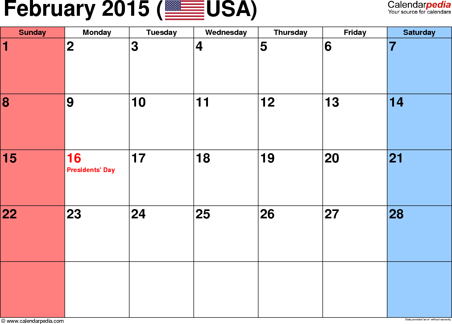February 2015 calendar, landscape orientation, small numerals, available as printable templates for Word, Excel and PDF