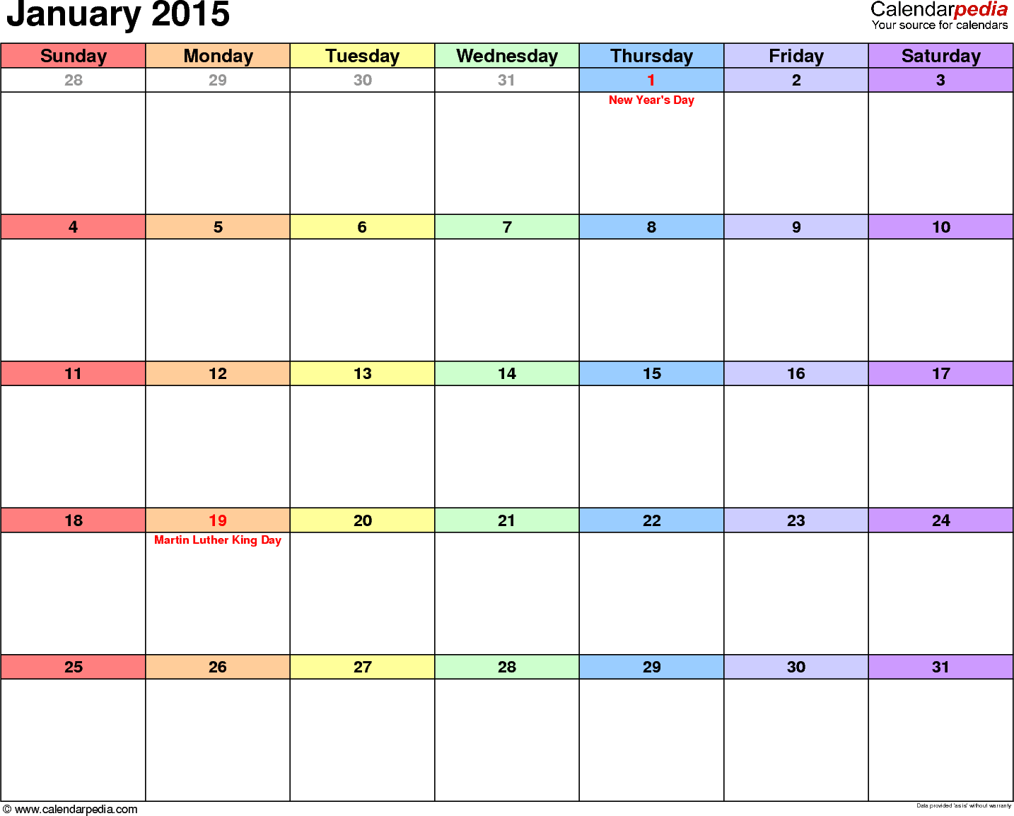 January 2015 calendar, landscape orientation, 'rainbow calendar', available as printable templates for Word, Excel and PDF